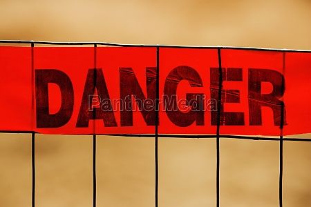 close up of a warning sign