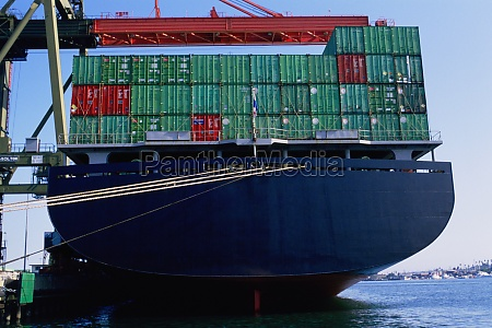 large container ship at port