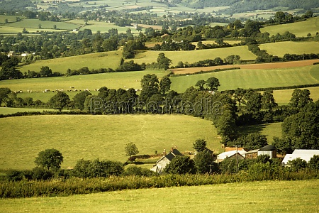 aerial view of a countryside in