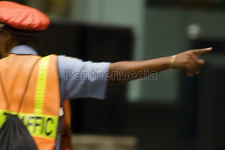 rear view of a traffic cop
