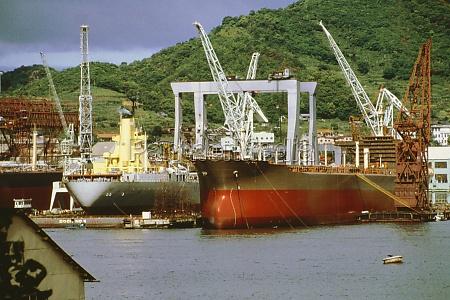 container ships in a shipyard nagasaki