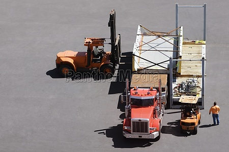 high angle view of a semi