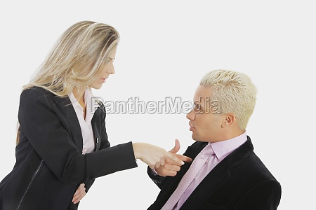 closeup of a businesswoman blaming a