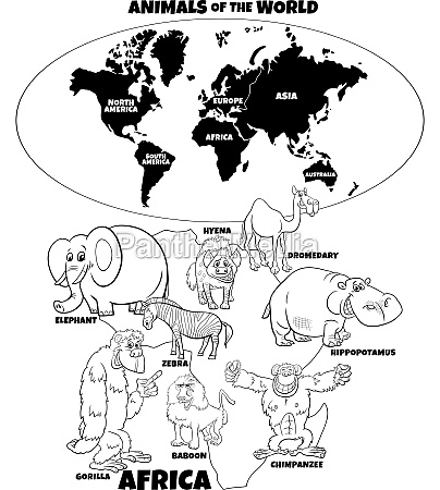 educational illustration of african animals coloring