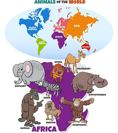 educational illustration with african animals and
