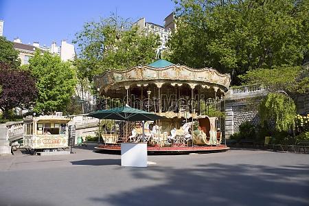 carousel horse ride at a roadside