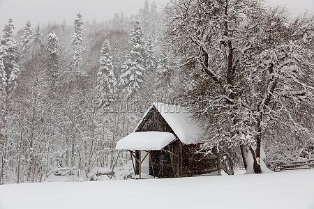 small house in winter camping in