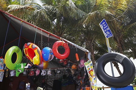 toys hanging in a store on