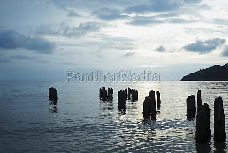 wooden posts in the sea taganga