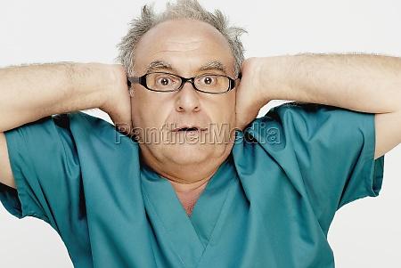 closeup of a senior man looking