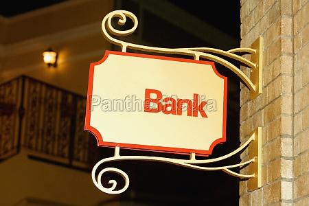close up of a bank signboard