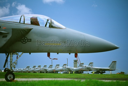 fighter planes in a field okinawa