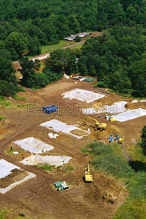 aerial view of bulldozers on a