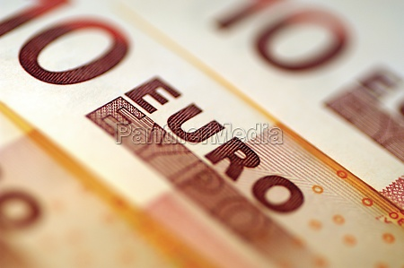 two 10 euro bank notes close