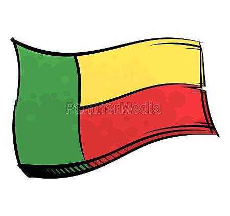 painted benin flag waving in wind