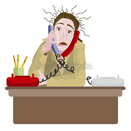 portrait of a receptionist talking on