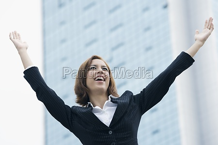 closeup of a businesswoman smiling with