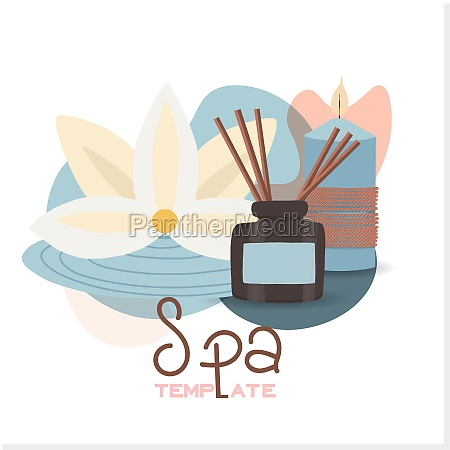relaxing spa set on white background