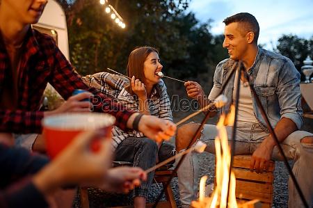 friends having fun by campfire picnic