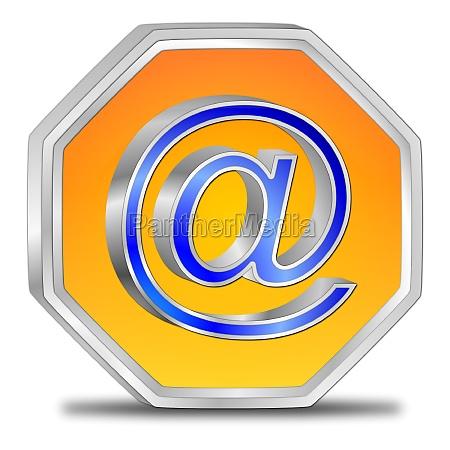 e mail button orange blue