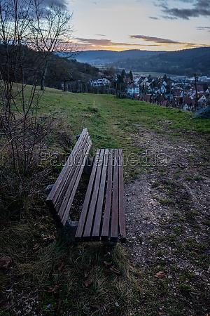 wooden bench in morning light