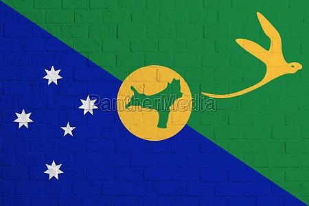 flag of christmas island brick wall