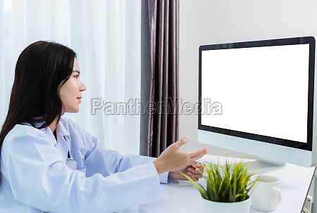 woman doctor video call online raise