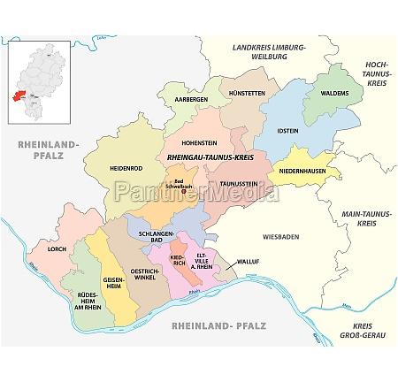 vector administrative district map rheingau taunus