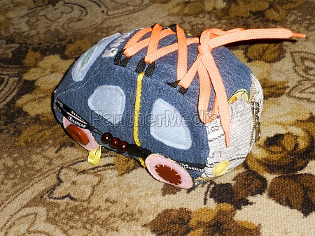 a sewed out toy car stuffed