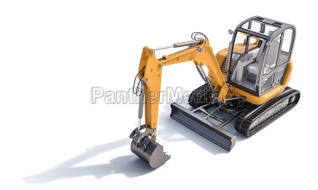 small yellow excavator on the white