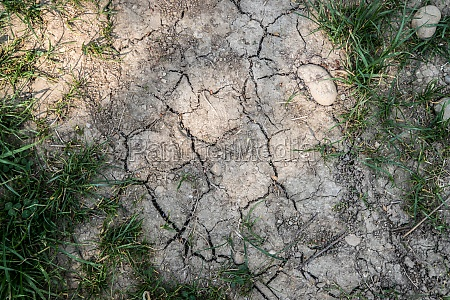 dry cracked soil on a field