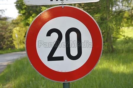 20 kilometers per hour speed limit