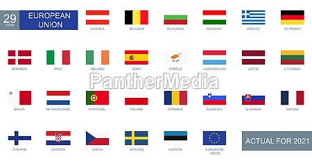 set of all flags of european