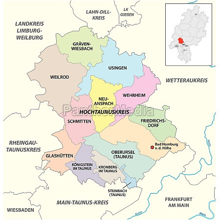 vector administrative district map hochtaunuskreis hesse