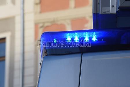 blue light signal on a police