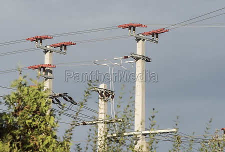 power poles and lines of a