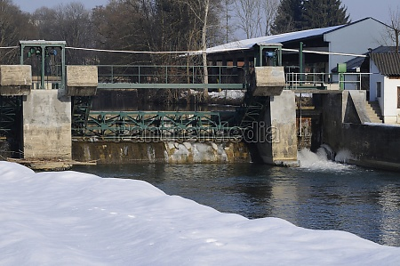 small hydroelectric power station in winter