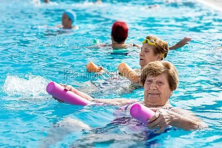 senior female aqua gym session