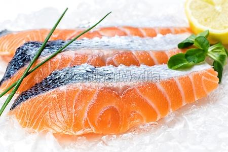 fresh salmon filets on ice