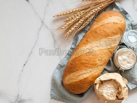 sourdough bloomer or baton loaf bread