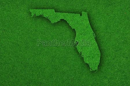 map of florida on green felt