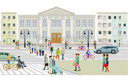 city view with pedestrian crossing and