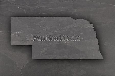 map of nebraska on dark slate