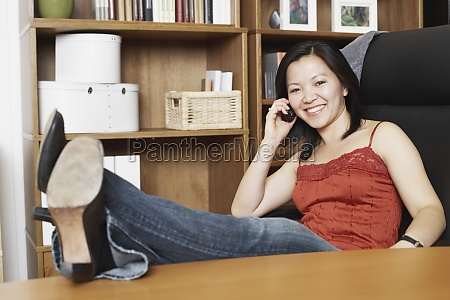 portrait of a businesswoman using a