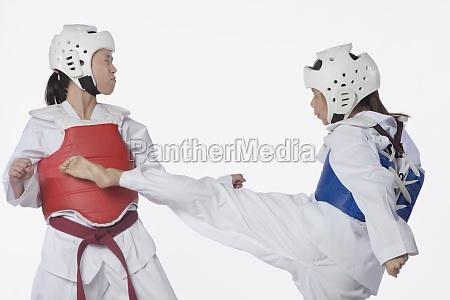 two taekwondo players fighting