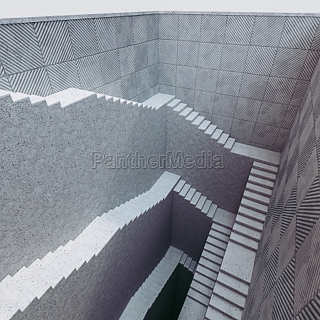 set of long concrete stairs in