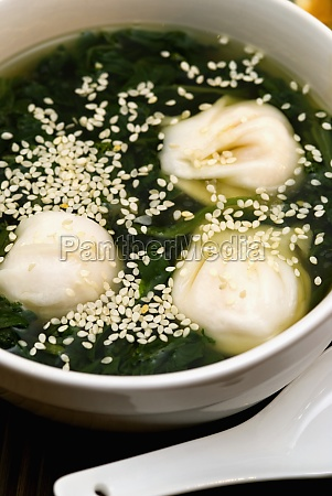 close up of chinese dumplings in