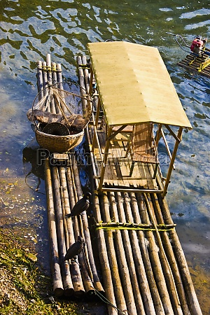 high angle view of wooden rafts