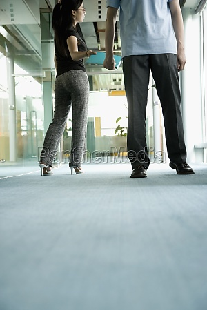 two office workers standing in a