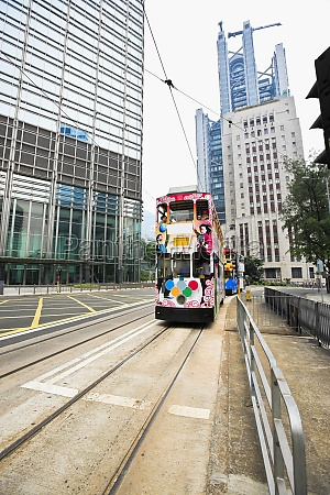 trams moving on the track des